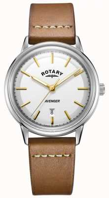 Rotary Mens Avenger Watch Silver Tone Case Tan Leather Strap GS05340/02