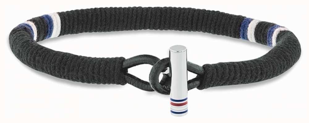 Tommy Hilfiger Black Wrapped Leather Bracelet 2701069
