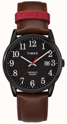 Timex Mens 38mm Easy Reader Brown Leather Strap Black Dial TW2R62300