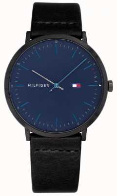 Tommy Hilfiger Mens James Watch Black Leather Strap Blue Dial 1791462