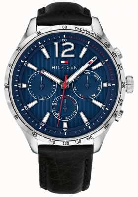Tommy Hilfiger Mens Gavin Chronograph Watch Black Leather Strap 1791468