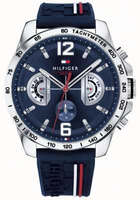 Tommy Hilfiger Mens Decker Watch Blue Dial Blue Rubber Strap 1791476