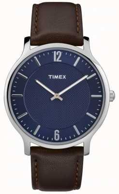 Timex Mens Slim Skyline 40mm Silver Case Brown Leather Blue Dial TW2R49900