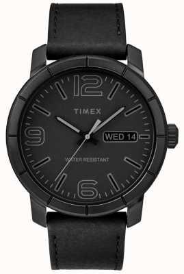 Timex Mens Mod 44 Black Leather Strap Black Dial TW2R64300