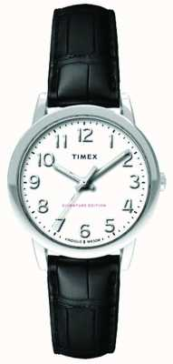 Timex Womens 30mm Easy Reader Black Croc Strap White Dial TW2R65300