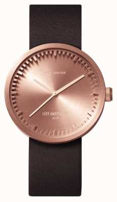 Leff Amsterdam D38 Rose Gold Case Brown Leather Strap LT71032