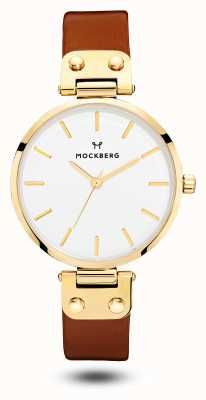 Mockberg Women's Ilse Brown Leather Strap White Dial MO108