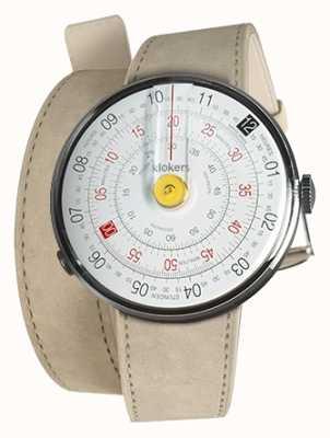 Klokers KLOK 01 Yellow Watch Head Grey Alcantara 420mm Double Strap KLOK-01-D1+KLINK-02-420C6
