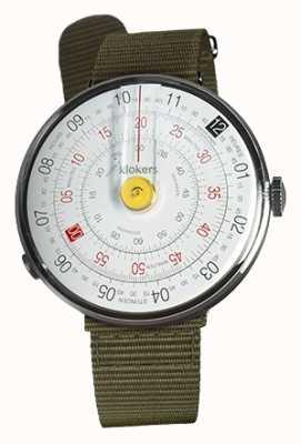 Klokers KLOK 01 Yellow Watch Head Lichen Green Textile Single Strap KLOK-01-D1+KLINK-03-MC2