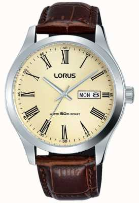 Lorus Stainless Steel Case Leather Bracelet Roman Numbers Cream RXN53DX9