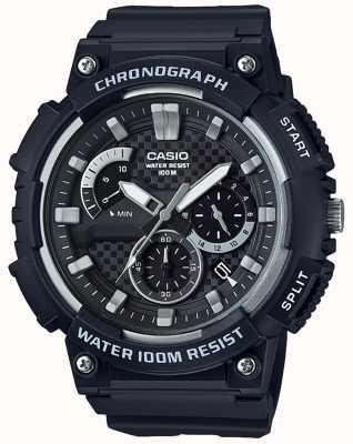 Casio Chronograph Black Resin Case Black Resin Strap Date Display MCW-200H-1AVEF