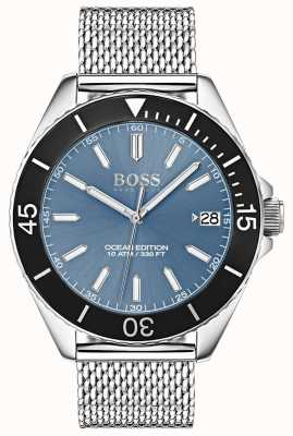 Boss Light Blue Dial Black Bezel Ocean Edition Mesh Strap 1513561