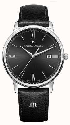 Maurice Lacroix Mens Eliros Black Leather Strap Black Dial EL1118-SS001-310-1