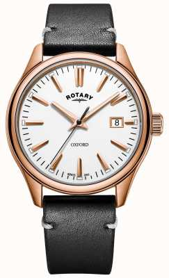 Rotary Mens Oxford Black Leather Strap Rose Gold PVD Plated Case GS05094/02