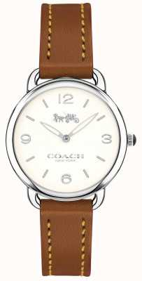 Coach Womens Delancey Slim Brown Leather Strap Watch White Dial 14502789