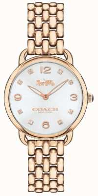 Coach Womens Delancey Slim Rose Tone Bracelet Watch Silver Dial 14502783