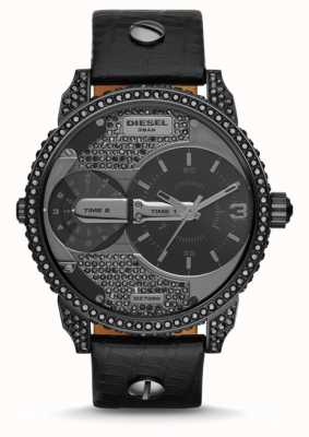 Diesel Mens Mini Daddy Black Leather Strap Watch DZ7328