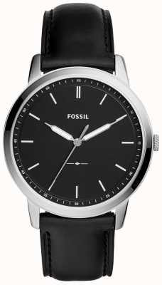 Fossil Mens The Minimalist Black Leather Strap Watch FS5398