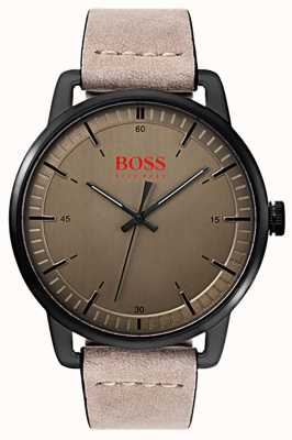 Hugo Boss Orange Stockholm Men's Suede Leather Strap Black IP Plated Case 1550073