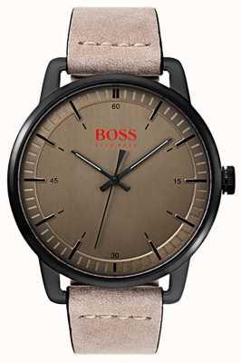 Hugo Boss Orange Stockholm Men's Suede Leather Strap Black IP Plated Case 1550073