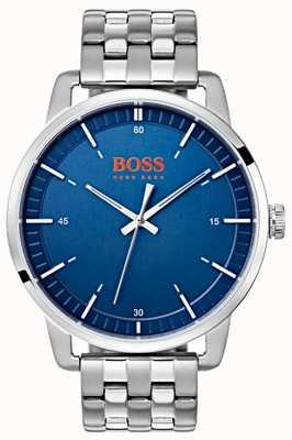 Hugo Boss Orange Stockholm Men's Blue Dial Silver Stainless Steel Bracelet 1550076