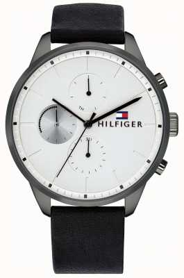 Tommy Hilfiger Men's Chase Chronograph Black Leather Bracelet White Dial 1791489