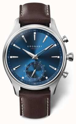 Kronaby 41mm SEKEL Blue Dial Brown Leather Strap A1000-3120