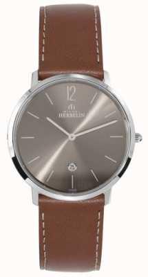 Michel Herbelin Men's Stainless Steel Ikone Dark Grey Dial Tan Strap 19515/27GO