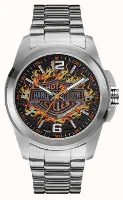 Harley Davidson Flaming Logo Print Dial Stainless Steel Case & Bracelet 76A147