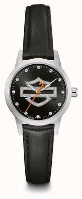 Harley Davidson Women's Crystal Set Black Logo Dial Black Leather Strap 76L181