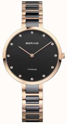 Bering Rose Gold & Black Titanium Crystal Set Dial 11334-762
