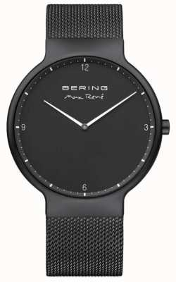 Bering Max René Black Dial White Markers Black IP Plated Mesh Strap 15540-123