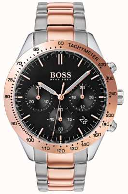 Boss Men's Talent Black Dial Rose Gold & Silver Two Tone Bracelet 1513584