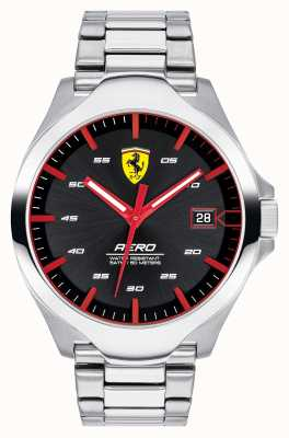 Scuderia Ferrari Men's Aero Date Display Black Dial Stainless Steel Bracelet 0830507