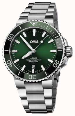 Oris Mens Aquis Date Green Dial Metal Bracelet 01 733 7730 4157-07 8 24 05PEB