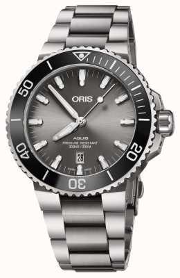 Oris Mens Titanium Aquis Metal Bracelet Grey Dial 01 733 7730 7153-07 8 24 15PEB