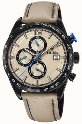 Festina Mens Sport Chronograph Cream Leather Strap Cream Dial F20344/1