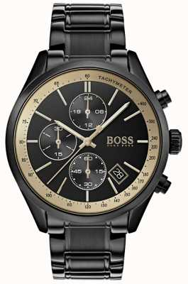 Boss Mens Grand Prix Black IP/Gold Accent watch 1513578