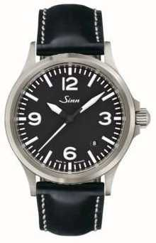 Sinn 556 A Sports Sapphire Glass Leather Strap 556.014 BLACK LEATHER WHITE STICH