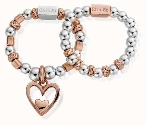 ChloBo Rose Set Of Two Heart Ring MR2733