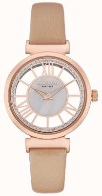 Kenneth Cole Womens Rose Gold Silver Dial Beige Leather Strap KC50189003