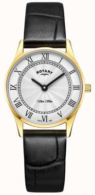 Rotary Womens Ultra Slim Black Leather Mother Of Peal Dial LS08303/01