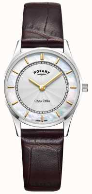 Rotary Womens Ultra Slim Brown Leather Mother Of Peal Dial LS08300/02