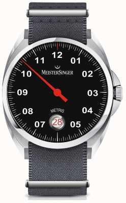 MeisterSinger Metris Automatic Black Dial Nylon Grey Strap ME902