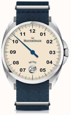 MeisterSinger Metris Automatic Ivory Dial Nylon Navy Strap ME903
