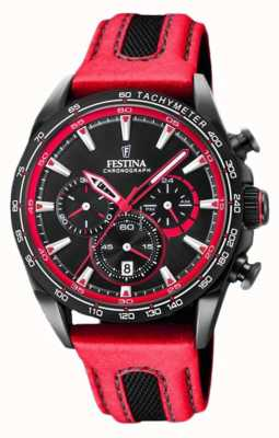 Festina Mens Sport Chronograph Red Leather Strap Black Dial F20351/6