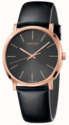Calvin Klein Mens Black Leather Watch Rose Gold Case K8Q316C3