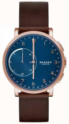 Skagen Hagen Connected Smart Watch Brown Leather Strap Blue Dial SKT1103