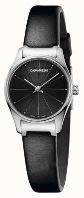 Calvin Klein Classic Black Dial Black Leather Strap Stainless Steel Case K4D231CY