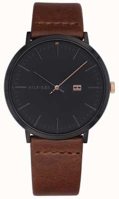 Tommy Hilfiger Mens James Watch Brown Leather Strap Dark Grey Dial 1791461